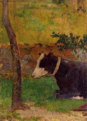 Reproduction oil paintings - Paul Gauguin - Kneeling Cow