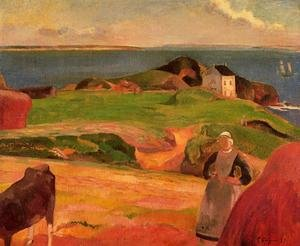 Reproduction oil paintings - Paul Gauguin - Landscape At Le Pouldu   The Isolated House