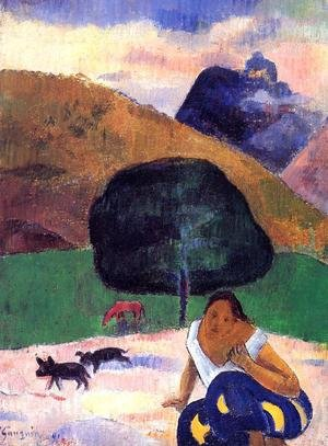 Reproduction oil paintings - Paul Gauguin - Landscape With Black Pigs And A Crouching Tahitian