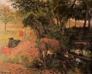 Reproduction oil paintings - Paul Gauguin - Landscape With Cows In An Orchard