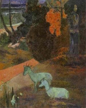 Reproduction oil paintings - Paul Gauguin - Landscape With Two Goats