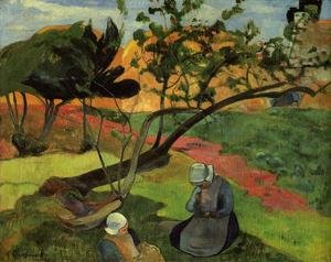 Reproduction oil paintings - Paul Gauguin - Little Girls Aka Landscape With Two Breton Girls