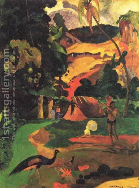 Paul Gauguin: Matamoe Aka Landscape With Peacocks - reproduction oil painting