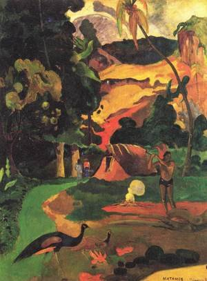 Reproduction oil paintings - Paul Gauguin - Matamoe Aka Landscape With Peacocks