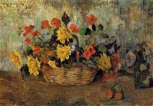 Reproduction oil paintings - Paul Gauguin - Nasturtiums And Dahlias In A Basket
