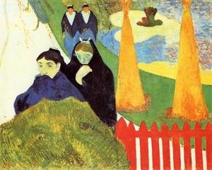 Reproduction oil paintings - Paul Gauguin - Old Women At Arles Aka Women From Arles In The Public Gardens  The Mistral