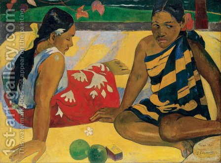 Paul Gauguin: Parau Api Aka What News - reproduction oil painting