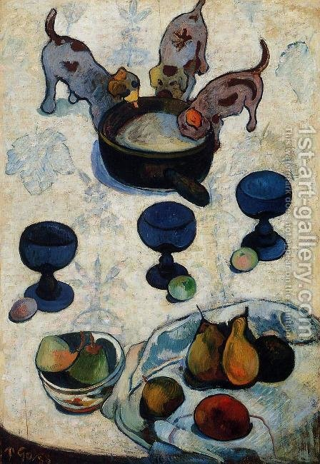 Paul Gauguin: Still Life With Three Puppies - reproduction oil painting