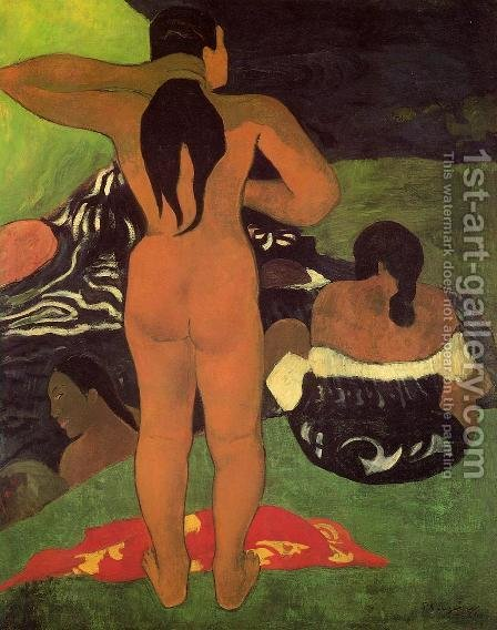 Paul Gauguin: Tahitian Women Bathing - reproduction oil painting