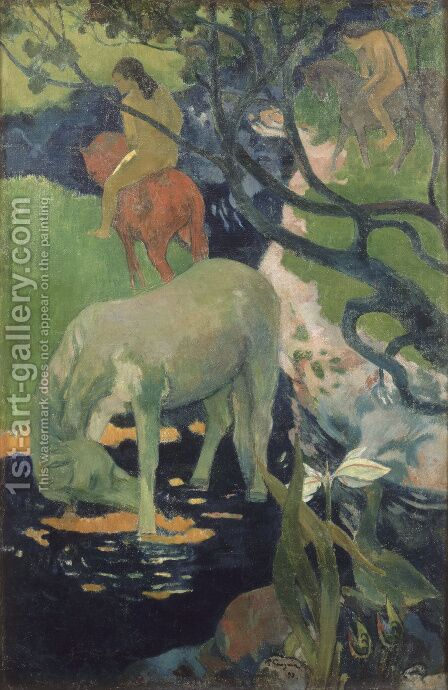 Paul Gauguin: The White Horse - reproduction oil painting