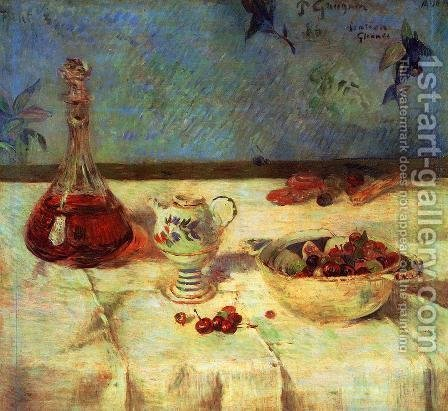 Paul Gauguin: The White Tablecloth Aka Still Life With Cherries - reproduction oil painting
