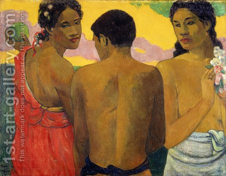 Paul Gauguin: Three Tahitians - reproduction oil painting