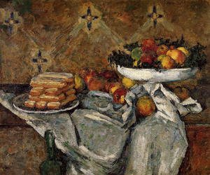 Reproduction oil paintings - Paul Cezanne - Compotier And Plate Of Biscuits