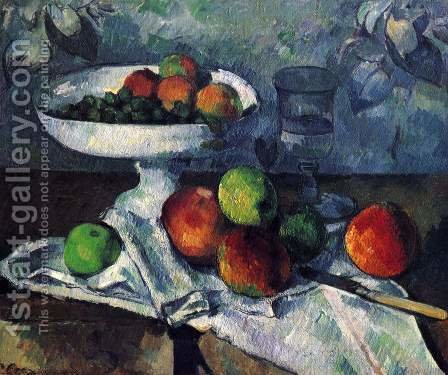 Compotier  Glass And Apples Aka Still Life With Compotier by Paul Cezanne - Reproduction Oil Painting