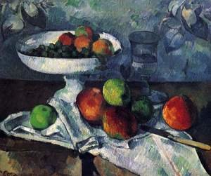 Reproduction oil paintings - Paul Cezanne - Compotier  Glass And Apples Aka Still Life With Compotier