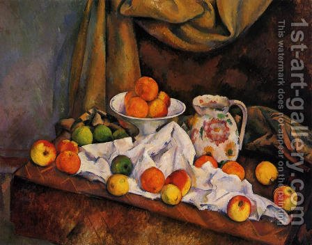 Fruit Bowl  Pitcher And Fruit by Paul Cezanne - Reproduction Oil Painting