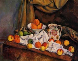 Reproduction oil paintings - Paul Cezanne - Fruit Bowl  Pitcher And Fruit