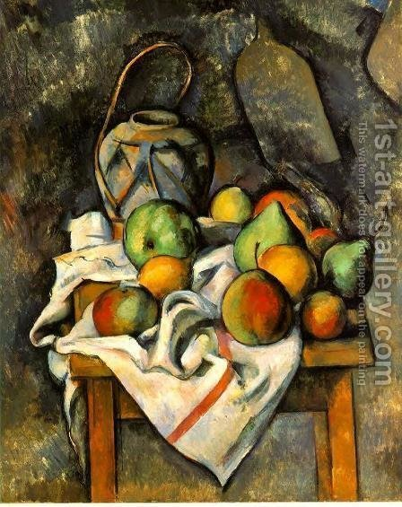 Ginger Jar And Fruit by Paul Cezanne - Reproduction Oil Painting