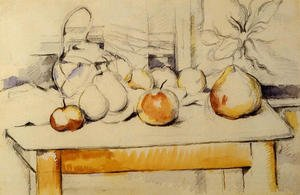 Reproduction oil paintings - Paul Cezanne - Ginger Jar And Fruit On A Table