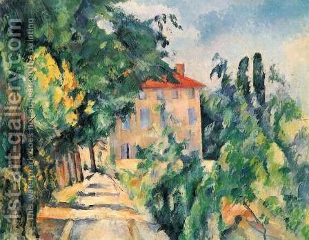 Paul Cezanne: House With Red Roof - reproduction oil painting