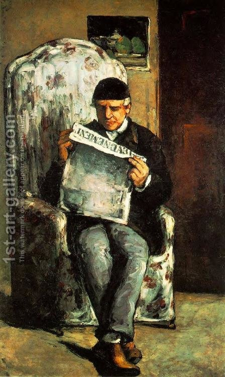 Paul Cezanne: Louis Auguste Cezanne  Father Of The Artist  Reading  L Evenement - reproduction oil painting