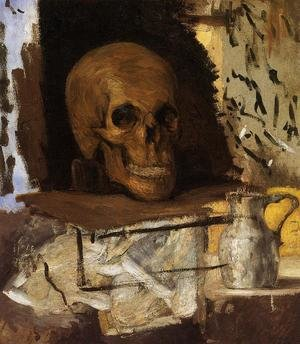 Famous paintings of Skeletons: Still Life Skull And Waterjug