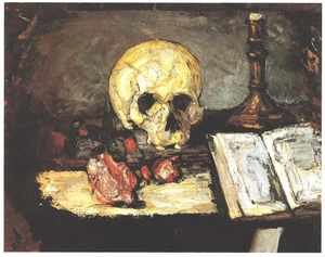 Famous paintings of Skeletons: Still Life With Skull And Candlestick