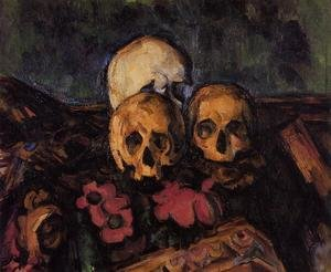Famous paintings of Skeletons: Three Skulls On A Patterned Carpet