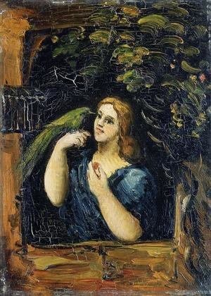 Reproduction oil paintings - Paul Cezanne - Woman With Parrot