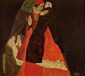 Reproduction oil paintings - Egon Schiele - Cardinal And Nun Aka Caress