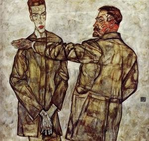 Reproduction oil paintings - Egon Schiele - Double Portrait Aka Chief Inspector Heinrich Benesch And His Son Otto