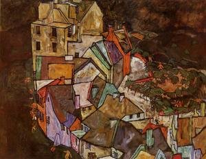 Reproduction oil paintings - Egon Schiele - Edge Of Town Aka Krumau Town Crescent III