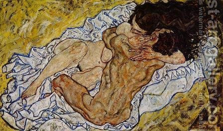 Egon Schiele: Embrace Aka Lovers II - reproduction oil painting