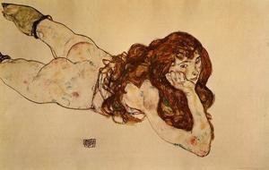 Reproduction oil paintings - Egon Schiele - Female Nude Lying On Her Stomach