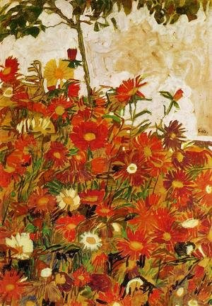 Reproduction oil paintings - Egon Schiele - Field Of Flowers