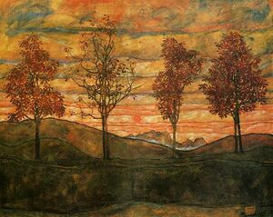 Egon Schiele reproductions - Four Trees