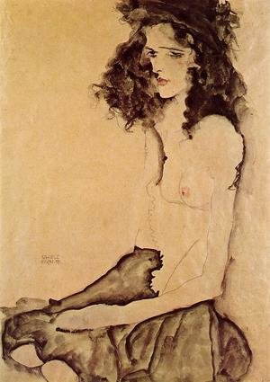 Reproduction oil paintings - Egon Schiele - Girl In Black
