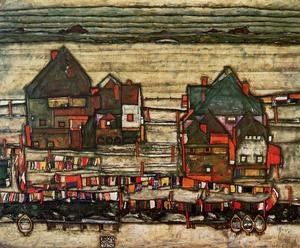 Reproduction oil paintings - Egon Schiele - Houses With Laundry Aka Seeburg II