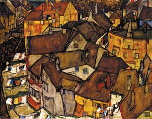 Reproduction oil paintings - Egon Schiele - Krumau Town Crescent I