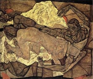Reproduction oil paintings - Egon Schiele - Lovers Man And Woman I