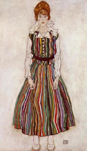 Expressionism painting reproductions: Portrait Of Edith Schiele In A Striped Dress