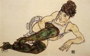 Expressionism painting reproductions: Reclining Woman With Green Stockings Aka Adele Harms