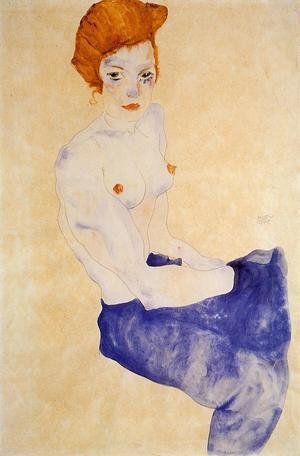 Expressionism painting reproductions: Seated Girl With Bare Torso And Light Blue Skirt