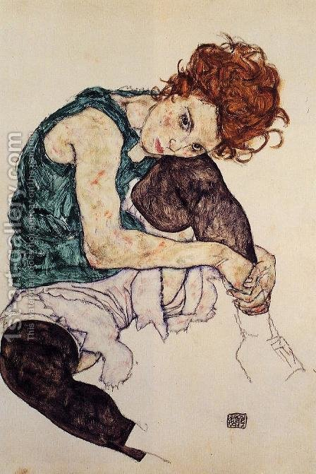 Seated Woman With Bent Knee by Egon Schiele - Reproduction Oil Painting