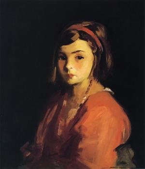 Ashcan School painting reproductions: Agnes In Red (Agnes Schleicher)