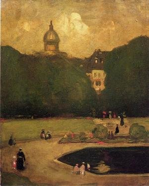 Ashcan School painting reproductions: Au Jardin Du Luxembourg