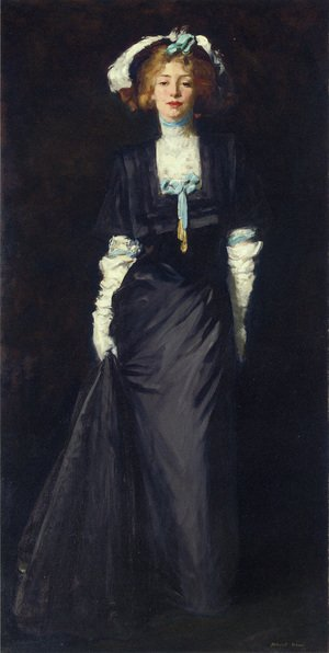 Reproduction oil paintings - Robert Henri - Jessica Penn In Black With White Plumes