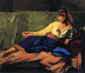 Reproduction oil paintings - Robert Henri - The Lounge Aka Figure On A Couch