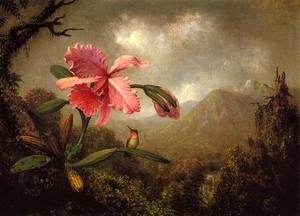 Famous paintings of Trees: Orchid And Hummingbird Near A Mountain Waterfall