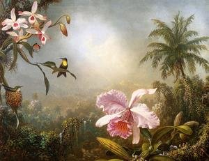 Famous paintings of Butterflies: Orchids  Nesting Hummingbirds And A Butterfly